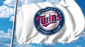 Waving flag with Minnesota Twins professional team logo. Editorial 3D rendering Royalty Free Stock Images