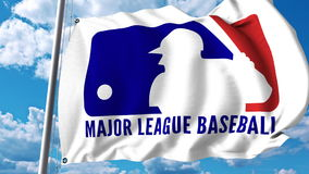 Waving flag with ML Baseball logo. Editorial 3D rendering. Waving flag with ML Baseball logo. Editorial 3D Stock Images