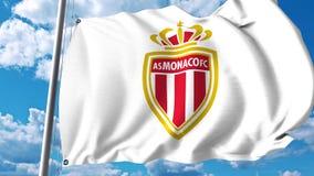 Waving flag with Monaco football team logo. Editorial 3D rendering. Waving flag with Monaco football team logo. Editorial 3D Stock Photography