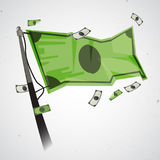 Waving flag of money. Money age or financial world concept -  illustration. Waving flag of money. Money age or financial world concept Royalty Free Stock Photo