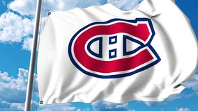 Waving flag with Montreal Canadiens NHL hockey team logo. 4K editorial clip. Waving flag with Montreal Canadiens NHL hockey team logo. 4K editorial animation stock illustration
