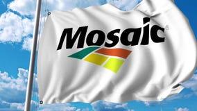 Waving flag with The Mosaic Company logo. 4K editorial animation. Waving flag with The Mosaic Company logo. 4K editorial clip stock illustration