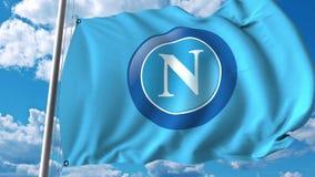 Waving flag with Napoli football team logo. Editorial 3D rendering. Waving flag with Napoli football team logo. Editorial 3D Stock Photos