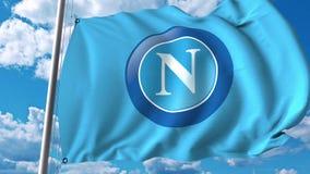 Waving flag with Napoli football team logo. 4K editorial clip. Waving flag with Napoli football team logo. 4K editorial animation vector illustration