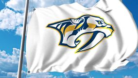 Waving flag with Nashville Predators NHL hockey team logo. 4K editorial clip. Waving flag with Nashville Predators NHL hockey team logo. 4K editorial animation stock illustration