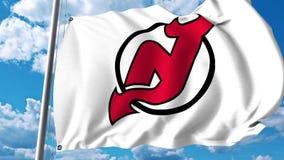 Waving flag with New Jersey Devils NHL hockey team logo. 4K editorial clip. Waving flag with New Jersey Devils NHL hockey team logo. 4K editorial animation vector illustration