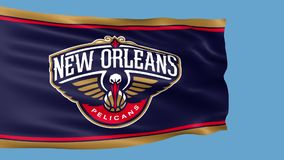Waving flag with New Orleans Pelicans basketball team logo