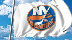 Waving flag with New York Islanders NHL hockey team logo. 4K editorial clip. Waving flag with New York Islanders NHL hockey team logo. 4K editorial animation royalty free illustration