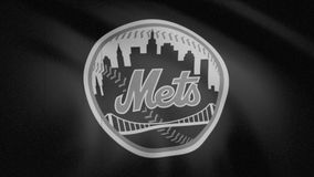 Waving flag with New York Mets professional team logo close-up monochrome, tv noise. Editorial clip stock video
