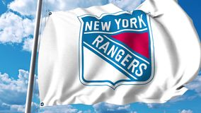 Waving flag with New York Rangers NHL hockey team logo. 4K editorial clip. Waving flag with New York Rangers NHL hockey team logo. 4K editorial animation stock illustration
