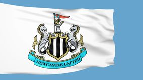 Waving flag with Newcastle United football team logo stock footage