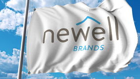 Waving flag with Newell Brands logo. Editoial 3D rendering Royalty Free Stock Photography