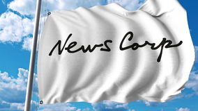 Waving flag with News Corp logo. Editoial 3D rendering. Waving flag with News Corp logo. Editorial 3D Royalty Free Stock Image