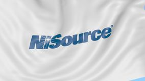 Waving flag with Nisource logo. Seamles loop 4K editorial animation. Waving flag with Nisource logo. Seamles loop 4K editorial clip stock illustration