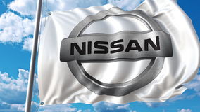 Waving flag with Nissan logo against sky and clouds. Editorial 3D rendering. Waving flag with Nissan logo against sky and clouds. Editorial 3D Royalty Free Stock Photos