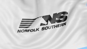 Waving flag with Norfolk Southern Railway logo. Seamles loop 4K editorial animation. Waving flag with Norfolk Southern Railway logo. Seamles loop 4K editorial royalty free illustration