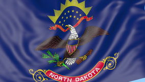 Waving flag of North Dakota state against blue sky. Seamless loop 4K clip. ProRes stock video