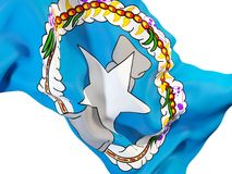 Waving flag of northern mariana islands. Closeup of waving flag of northern mariana islands. 3D illustration Royalty Free Stock Images