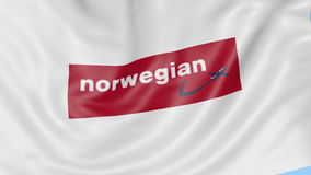 Waving flag of Norwegian Air Shuttle against blue sky background, seamless loop. Editorial 4K animation stock video