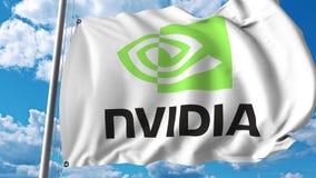Waving flag with Nvidia logo. 4K editorial animation. Waving flag with Nvidia logo. 4K editorial clip vector illustration