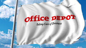 Waving flag with Office Depot logo. Editoial 3D rendering. Waving flag with Office Depot logo. Editorial 3D Stock Images