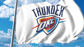 Waving Flag With Oklahoma City Thunder Professional Team Logo Editorial 3D Rendering Royalty Free Stock