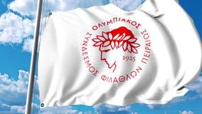 Waving flag with Olympiakos football club logo. 4K editorial clip. Waving flag with Olympiakos football club logo. 4K editorial animation stock illustration