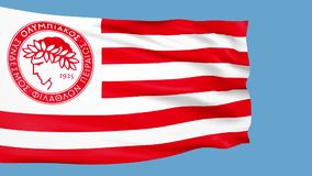 Waving flag with Olympiakos football team logo stock video footage