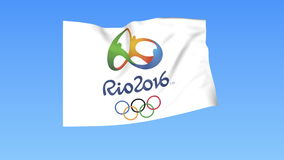 Waving flag of Olympic games in Rio 2016, seamless loop. Exact size, blue background. Part of flag set. 4K ProRes, alpha. Flapping flag of Olympic games in Rio vector illustration