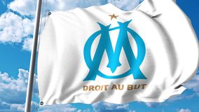 Waving flag with Olympique de Marseille football club logo. 4K editorial clip. Waving flag with Olympique de Marseille football club logo. 4K editorial animation royalty free illustration