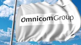 Waving flag with Omnicom Group logo. 4K editorial animation. Waving flag with Omnicom Group logo. 4K editorial clip royalty free illustration