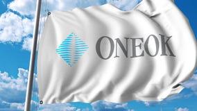 Waving flag with ONEOK logo. 4K editorial animation. Waving flag with ONEOK logo. 4K editorial clip stock illustration