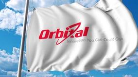 Waving flag with Orbital Sciences Corporation logo. 4K editorial animation. Waving flag with Orbital Sciences Corporation logo. 4K editorial clip royalty free illustration