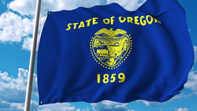Waving flag of Oregon. 3D rendering Stock Images