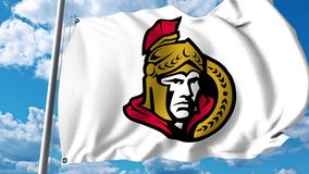Waving flag with Ottawa Senators NHL hockey team logo. 4K editorial clip. Waving flag with Ottawa Senators NHL hockey team logo. 4K editorial animation vector illustration