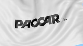 Waving flag with Paccar logo. Seamles loop 4K editorial animation. Waving flag with Paccar logo. Seamles loop 4K editorial clip royalty free illustration