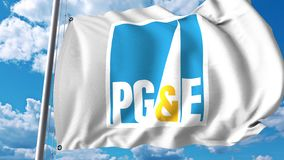 Waving flag with Pacific Gas And Electric Company logo. 4K editorial animation. Waving flag with Pacific Gas And Electric Company logo. 4K editorial clip royalty free illustration