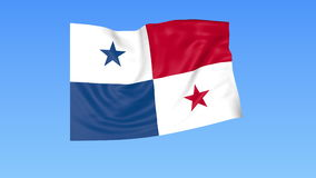 Waving flag of Panama, seamless loop. Exact size, blue background. Part of all countries set. 4K ProRes with alpha. Flapping flag of Panama, blue background stock illustration