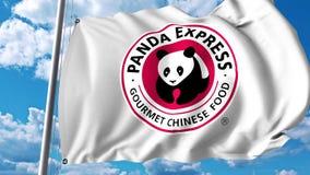 Waving flag with Panda Express logo. 4K editorial animation. Waving flag with Panda Express logo. 4K editorial clip royalty free illustration