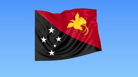 Waving flag of Papua New Guinea, seamless loop. Exact size, blue background. Part of all countries set. 4K ProRes, alpha. Flapping flag of Papua New Guinea, blue stock illustration