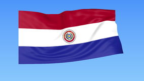 Waving flag of Paraguay, seamless loop. Exact size, blue background. Part of all countries set. 4K ProRes with alpha. Flapping flag of Paraguay, blue background stock illustration