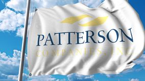 Waving flag with Patterson Companies logo. 4K editorial animation. Waving flag with Patterson Companies logo. 4K editorial clip royalty free illustration
