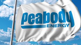 Waving flag with Peabody Energy logo. 4K editorial animation. Waving flag with Peabody Energy logo. 4K editorial clip stock illustration