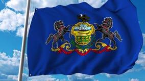 Waving flag of Pennsylvania. 3D rendering Stock Images