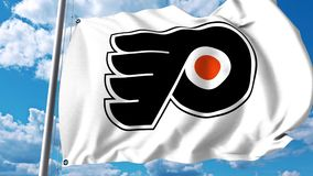 Waving flag with Philadelphia Flyers NHL hockey team logo. 4K editorial clip. Waving flag with Philadelphia Flyers NHL hockey team logo. 4K editorial animation vector illustration