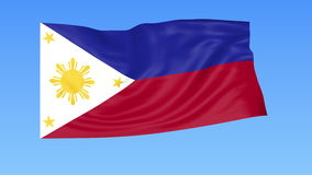 Waving flag of Philippines, seamless loop. Exact size, blue background. Part of all countries set. 4K ProRes with alpha. Flapping flag of Philippines, blue stock illustration
