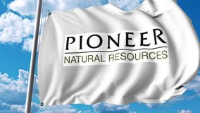Waving flag with Pioneer Natural Resources logo. 4K editorial animation. Waving flag with Pioneer Natural Resources logo. 4K editorial clip vector illustration