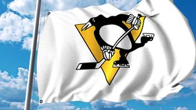 Waving flag with Pittsburgh Penguins NHL hockey team logo. 4K editorial clip. Waving flag with Pittsburgh Penguins NHL hockey team logo. 4K editorial animation vector illustration