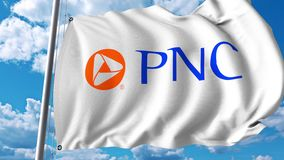 Waving flag with PNC Financial Services logo. 4K editorial animation. Waving flag with PNC Financial Services logo. 4K editorial clip stock illustration