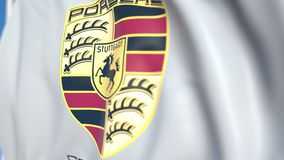 Waving flag with Porsche AG logo, close-up. Editorial loopable 3D animation vector illustration